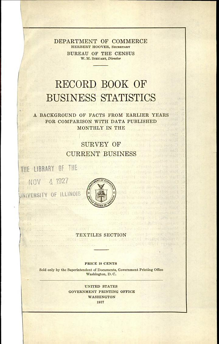 Record Book of Business Statistics