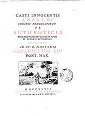 Casti Innocentis Ansaldi ... De authenticis Sacrarum Scripturarum apud Ss. Patres lectionibus libri duo ..