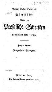 Sämtliche kleinere prosaische Schriften vom Jahr 1763-1783: Band 2