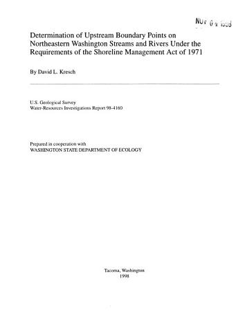 Determination of Upstream Boundary Points on Northeastern Washington Streams and Rivers Under the Requirements of the Shoreline Management Act of 1971 PDF