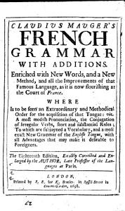 Claudius Mauger's French Grammar