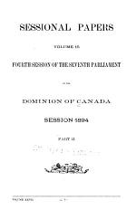 Sessional Papers of the Dominion of Canada