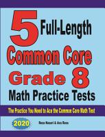 5 Full Length Common Core Grade 8 Math Practice Tests PDF
