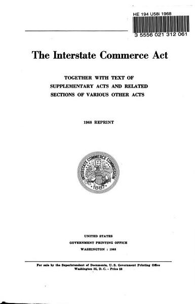The Interstate Commerce Act