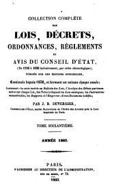 Collection complète des lois, décrets d'intérêe général, traités internationaux, arrêtés, circulaires, instructions, etc: Volume60