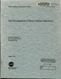 The Development of Space Station Objectives PDF