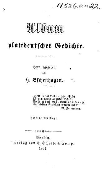 Album plattdeutscher Gedichte  Herausgegeben von H  E  Zweite Auflage PDF