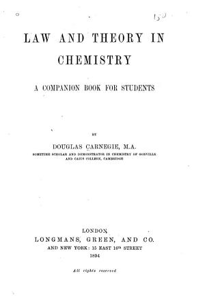 Law and Theory in Chemistry PDF