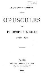 Opuscules de philosophie sociale, 1819-1828