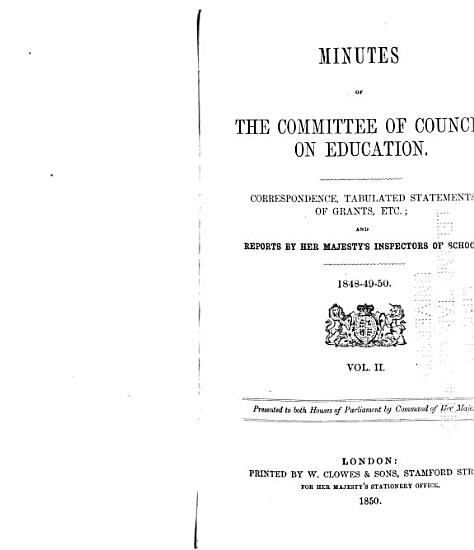 Minutes of the Committee of Council on Education  with Appendices PDF