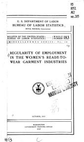Regularity of employment in the women's ready-to-wear garment industries