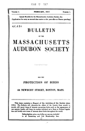 The Bulletin of the Massachusetts Audubon Society: Volumes 1-5