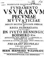 De fundamento usurarum pecuniae mutuaticiae