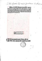 Vita Christi. Ed. Bertrandus Stephanus