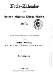 Notiz-Kalender für Seiner Majestät Kriegs-Marine: Band 1