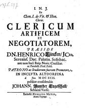 Clericus artifex et negotiator; resp. Joh. Gunther Engelschall. - Altdorfii, Meyer 1692