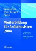 Weiterbildung f  r den An  sthesisten 2004 PDF