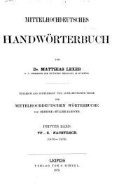 Mittelhochdeutsches handwörterbuch: bd. V-Z. Nachträge