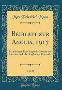 Beiblatt Zur Anglia  1917  Vol  28 PDF