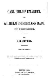 Carl Philipp Emanuel und Wilhelm Friedemann Bach und deren Brüder: Band 1