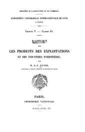 Rapport sur les produits des exploitations et des industries forestières