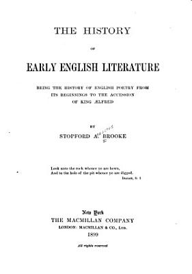 The History of Early English Literature PDF