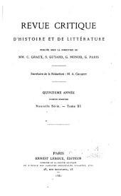 Revue critique d'histoire et de littérature: Numéro1