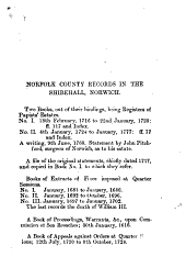 A Short Catalogue of the Records of the County of Norfolk Preserved in the Shirehall, Norwich