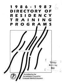 Directory of Residency Training Programs PDF