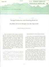 Forage production and stocking rates on southern Arizona ranges can be improved