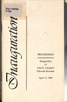 Proceedings  Inauguration of John R  Campbell  Fifteenth President  April 13  1989 PDF