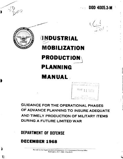 Industrial Mobilization Production Planning Manual PDF