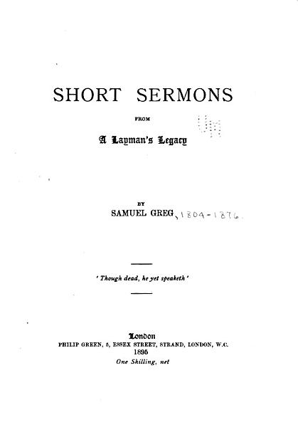 Download Short Sermons from A Layman s Legacy Book