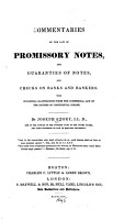 Commentaries on the Law of Promissory Notes  and Guaranties of Notes  and Checks on Banks and Bankers PDF