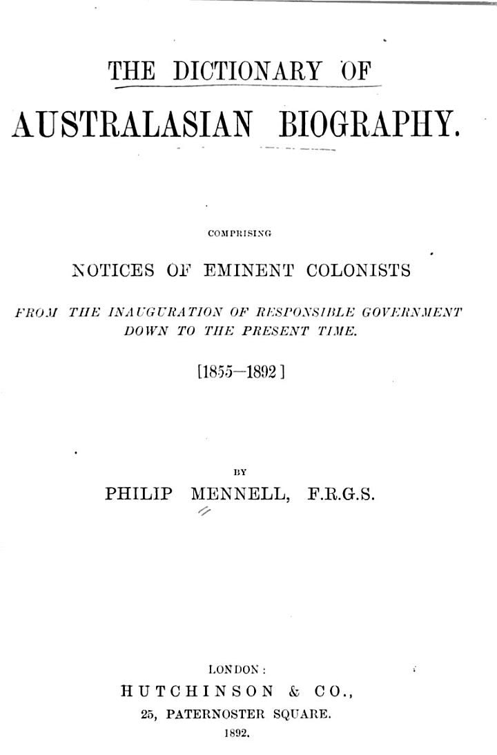 The Dictionary of Australasian Biography