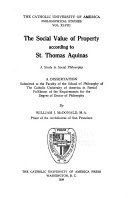 Download The Social Value of Property According to St  Thomas Aquinas Book