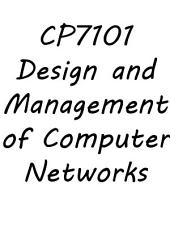 CP7101 Design and Management of Computer Networks