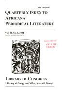 Quarterly Index to Africana Periodical Literature PDF