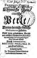 Friderici Zobelii Chymische medicinische Perle PDF