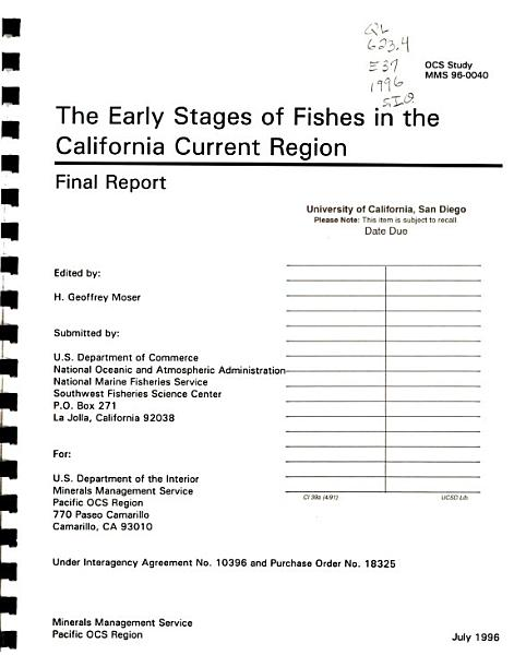 Download The Early Stages of Fishes in the California Current Region Book