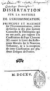Dissertation sur la matière de l'excommunication