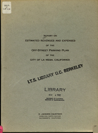 Report on Estimated Revenues and Expenses of the Off street Parking Plan of the City of La Mesa  California