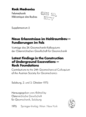 Latest findings in the construction of underground excavations - rock foundations