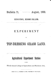 Bulletin - Agricultural Experiment Station, University of Rhode Island: Issues 71-105