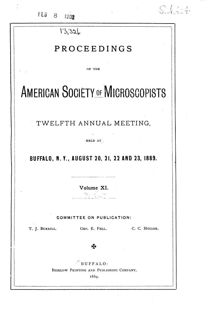 Proceedings of the American Society of Microscopists