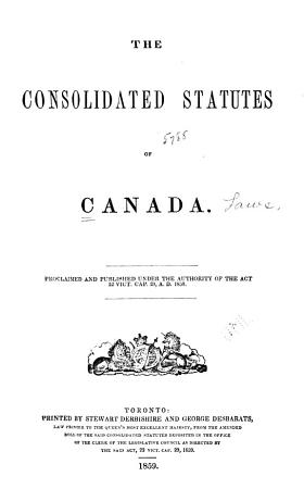 The Consolidated Statutes of Canada PDF