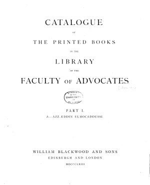 Catalogue of the Printed Books in the Library of the Faculty of Advocates  A Byzantium  1867 PDF