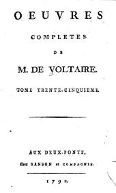 Oeuvres complètes de M. de Voltaire: Volume35