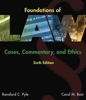 Foundations of Law  Cases  Commentary and Ethics PDF