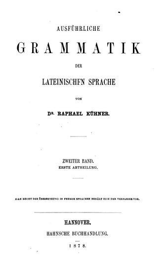 Ausf  hrliche Grammatik der lateinischen Sprache PDF